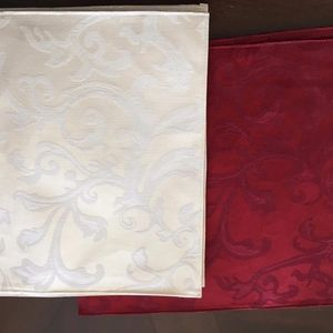 Other - Set of 4 Red and 4 Ivory Placemats Embossed Design